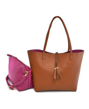 Women's Classic 2-in-1 Vegan Leather Purse Two Toned Reversible Tote Handbag image 10