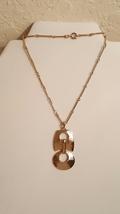 Vintage Hammered Gold Tone Segmented Drop Pendant Necklace - $26.00