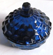 Vintage Indiana Glass Whitehall Pattern Cobalt Blue Color Candy Bowl With Lid Co - $53.99