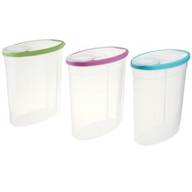 Rubbermaid 1.5 Gallon Cereal Snack Storage Container 3 Pack Blue Green P... - $34.58