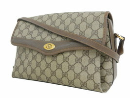 Auth Gucci Shoulder Bag Brown OLD Gucci Vintage GG Leather PVC Canvas Fl... - $454.41
