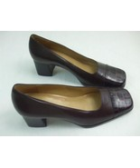 Enzo Angiolini Album Brown Leather Croc Print Square Toes Shoes Pumps He... - $24.70