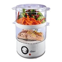 Oster Double Tiered Food Steamer, 5 Quart, White (CKSTSTMD5-W-015) - $37.54