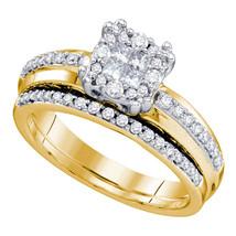 14k Yellow Gold Princess Round Diamond Cluster Bridal Wedding Ring Set - $1,199.00