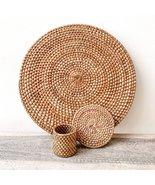 Rattan Wall Basket Beach Creations Boho - Set Plate + Glass + Napkin Cha... - £10.83 GBP+