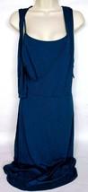 Ann Taylor Loft Women's Wrap Dress Size 14 Solid Blue Sleeveless Scoop Neck - $25.49