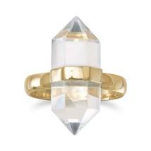 .925 Sterling Silver 14 Karat Gold Plated Spike Pencil Cut Clear Quartz ... - $50.11