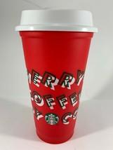 Starbucks 2019 Red Reusable Cup Grande 16oz MERRY COFFEE Christmas - $16.44