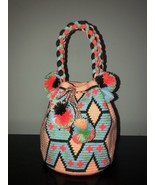 Authentic 100% Wayuu Mochila Colombian Bag Medium Size Pastel Colors Sho... - £42.82 GBP