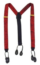Vtg CAS Germany Red Marching Band Suspenders Braces Brass Leather Adjust... - $14.84