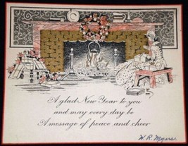 VINTAGE New Year Fireplace Card Canada - $2.84