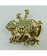 Vintage Noahs Ark Animals Gold Tone Signed Avon BROOCH PIN  - $16.82