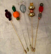 COOL VINTAGE ORIGINAL DESIGNER UNIQUE HAT PINS 5 IN TOTAL 07 LOVELY COLL... - £13.71 GBP