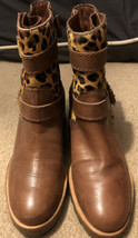 Kate Spade Calf Fur Leopard Booties Brown Leather Boots Size 5 1/2 Animal Print - $66.76