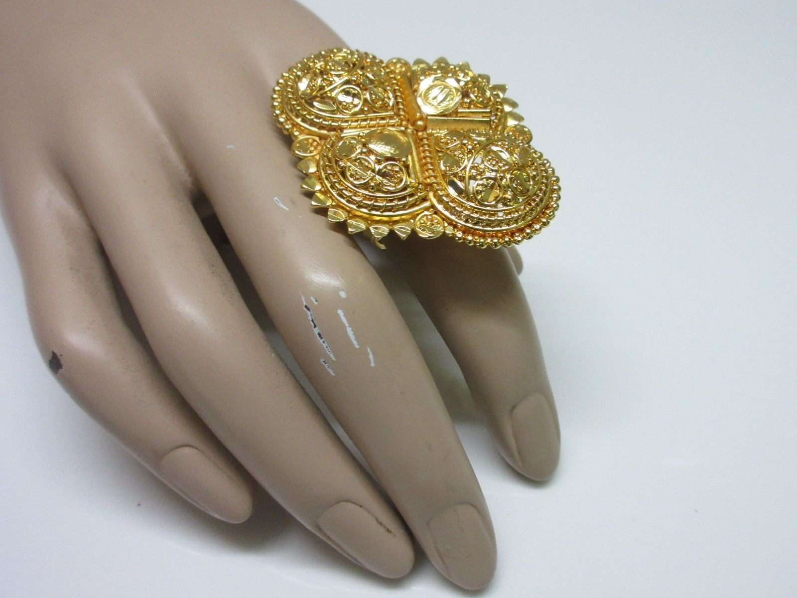 Indian Bollywood Traditional Adjustable Bridal Gold Tone Fashion Jewelry Ring