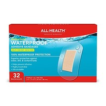 "All Health Antibacterial Clear Waterproof Adhesive Bandages, 2 X 3-1/2"", 32Count"