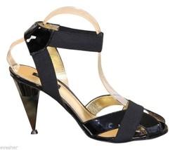 DOLCE & GABBANA Sandal Black Patent Leather Elastic Ankle Strap Gold Hee... - $272.25