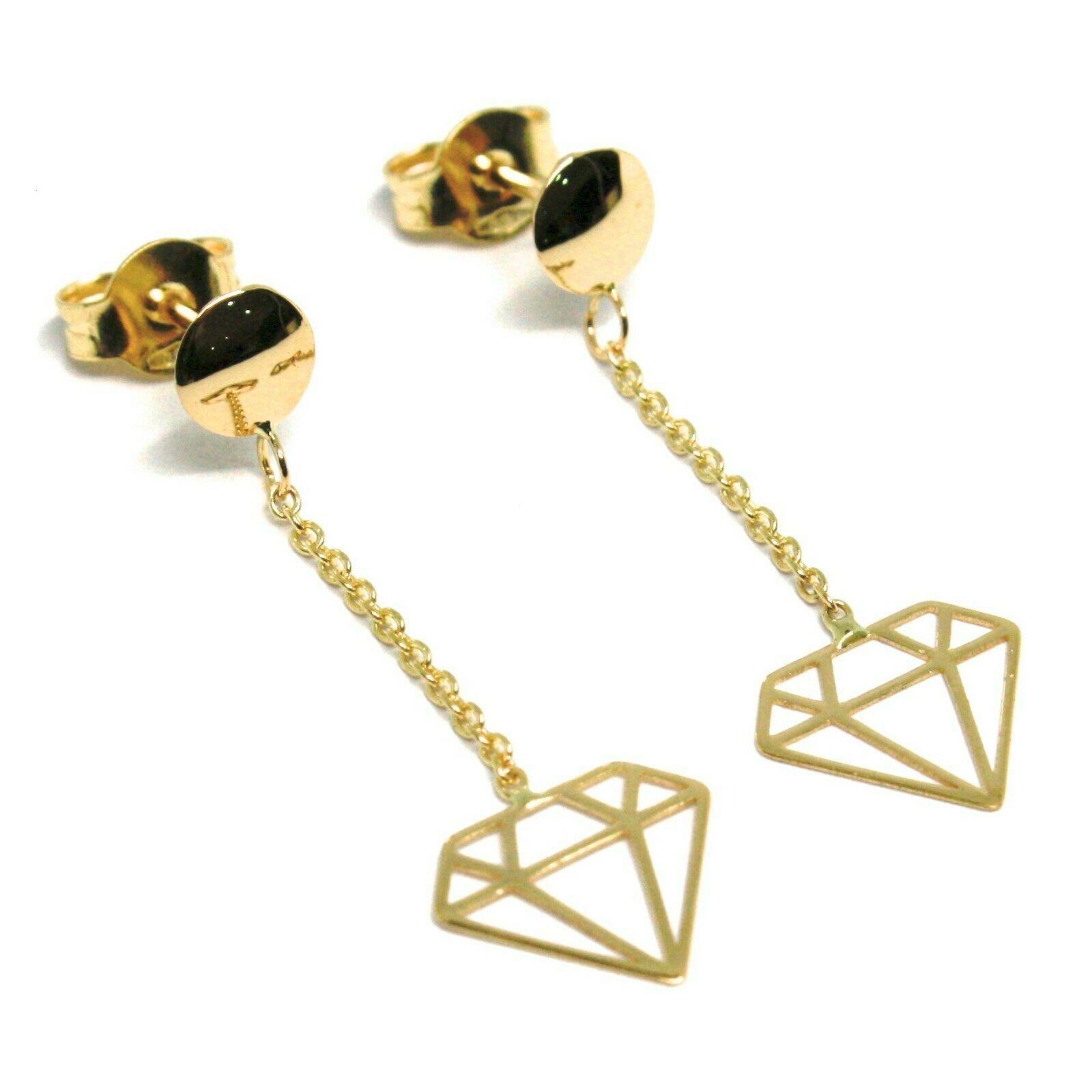 18K YELLOW GOLD PENDANT EARRINGS, OPENWORK FLAT DIAMONDS, BUTTERFLY CLOSURE