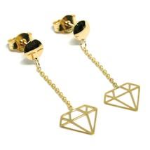 18K YELLOW GOLD PENDANT EARRINGS, OPENWORK FLAT DIAMONDS, BUTTERFLY CLOSURE image 1