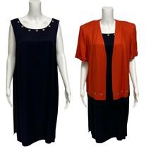 Dana Kay Donna Vintage Elegante Abito Giacca 2 Pezzi Blu Navy Arancio Ta... - $24.15