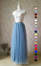 DUSTY BLUE Tulle Maxi Skirt High Waist Bridesmaid Tulle Skirt Blue Wedding Skirt image 7