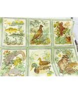 Vintage fabric wildlife print animals sewing art craft - $19.79