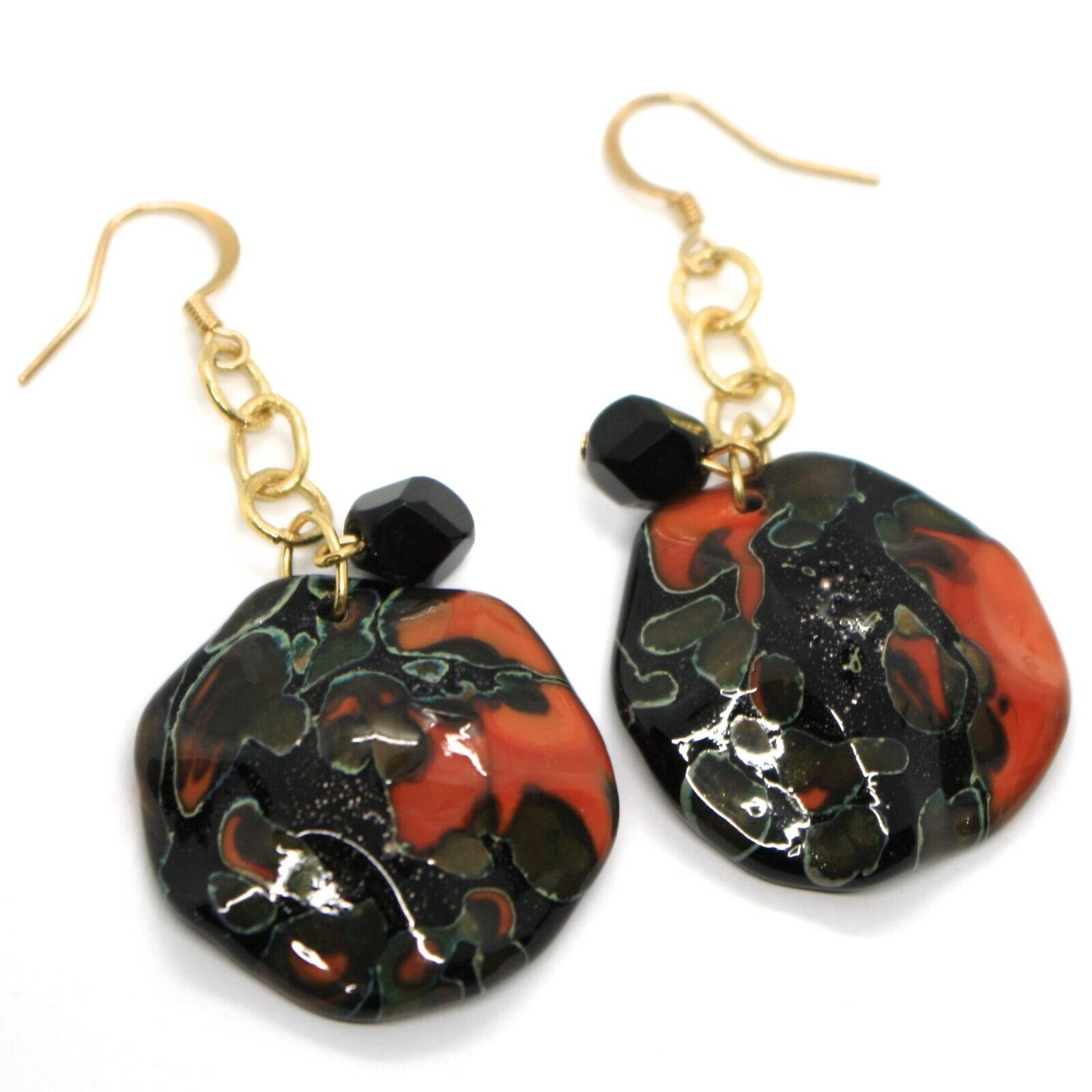 Earrings Antica Murrina Venezia, Hanging, Discs Wavy, Red Black, 6 CM