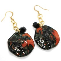 Earrings Antica Murrina Venezia, Hanging, Discs Wavy, Red Black, 6 CM image 1