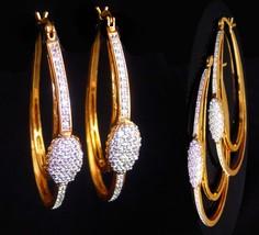 Stunning Seta CZ Earrings - high end jewelry - large gold hoops - brilli... - $85.00