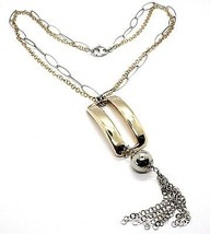 Necklace Silver 925, Double Chain, White and Yellow,Rectangle Fringe,Hanging image 1