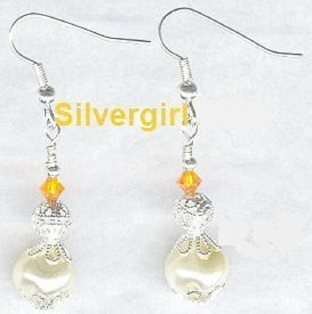 Glass Whirl Pearl Crystal Silver Plate Dangle Earrings