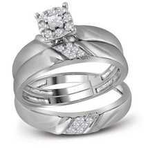 10kt White Gold His & Her Round Diamond Matching Bridal Wedding Ring Set - $439.00