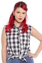 Cotton Sleeveless Tie Front Blouse -Retro 60s Style B&W Check Top - M/L -Hey Viv - $28.00