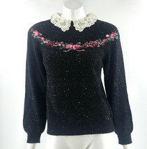 VTG 80s Boundary Waters Womens Sweater Small Black Floral Lace Collar Pu... - $29.70