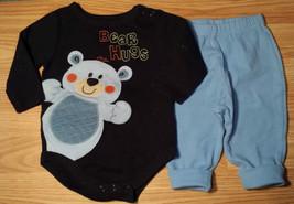 "Boy's Size 3-6 M Months 2 Pc Navy ""Bear Hugs"" Garanimals L/S Top & FGlory Pants - $15.25"