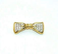 TRIFARI Gold Tone Pave Rhinestone Christmas Ribbon Bow Lapel Pin Brooch ... - $19.79
