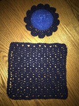 Crocheted Blue scrubby with dishcloth Set Free shipping  - €13,53 EUR