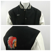 Vintage Black White Varsity Letterman Jacket Embroidered Indian Chief Headdress  - $164.29