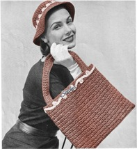 1950s Flat Bag with Handles wtih Floppy Hat Brimmed - Crochet pattern (PDF 3755) - $3.75