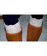 Boot Cuffs Hand Knit Beige Angora Blend with Knit Lace Edges Size Small - $24.18