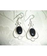 Beautiful Onyx Black Stone .925 Sterling Silver Dangle earrings Handmade - $16.00