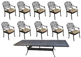 11 Piece Patio Dining Set Outdoor Aluminum Elisabeth Extendable Table 48 x 132 image 4