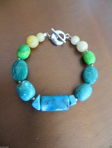 """Barse Sterling Silver Turquoise /Natural Green/Cream Stone Bracelet 7.5"""" $ 98 - $35.00"""