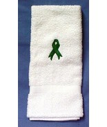 Kidney Cancer Awareness Green Ribbon Embroidery White Terry Cloth Bath T... - $16.63