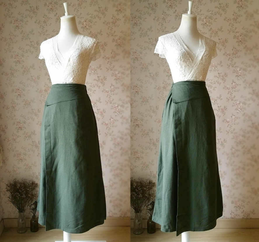 ARMY GREEN Boho Skirt Loose Long Linen Wrap Skirt Army Green Linen Skirt Outfit