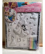 Disney Princes Color Your Own 3D Sticker Poster With Markers - $7.83