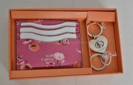 NIB Coach Gift Set Of  Leather Card Case+Valet Keyring Pink/Flowers Grea... - $99.00
