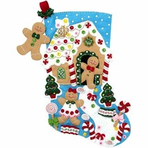 Bucilla Gingerbread Dreams Cookies Christmas Holiday Felt Stocking Kit 86898 - $39.95
