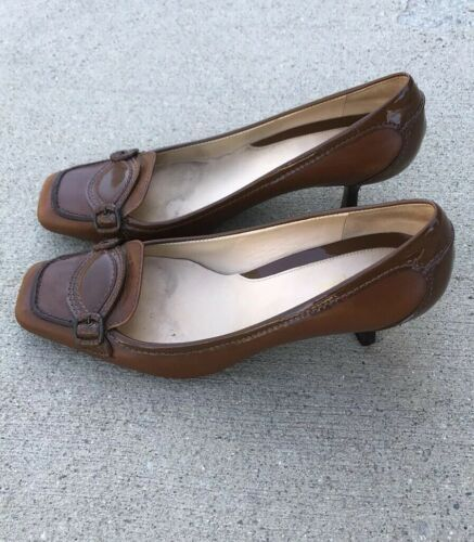 Cole Haan Womens Brown Leather Heel Pump Shoes Size 7B Brazil