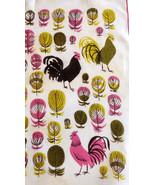 Tammis Keefe Hen Feathers Handkerchief MOD Magenta Pink Lime Green Hens ... - $39.90
